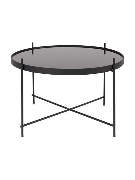 Mały stolik kawowy ze szklanym blatem Cupid, Stelaż: metal malowany proszkowo, Blat: czarne szkło, Czarny, Ø 63 x W 40 cm