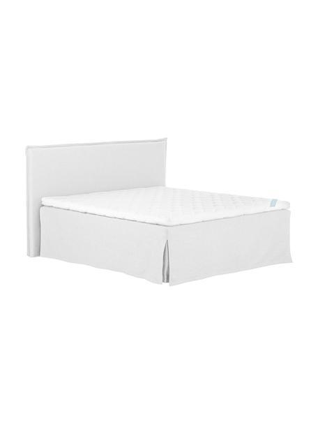 Premium Boxspringbett Violet, Matratze: 7-Zonen-Taschenfederkern , Füße: Massives Buchenholz, lack, Helles Weiß-Grau, 180 x 200 cm