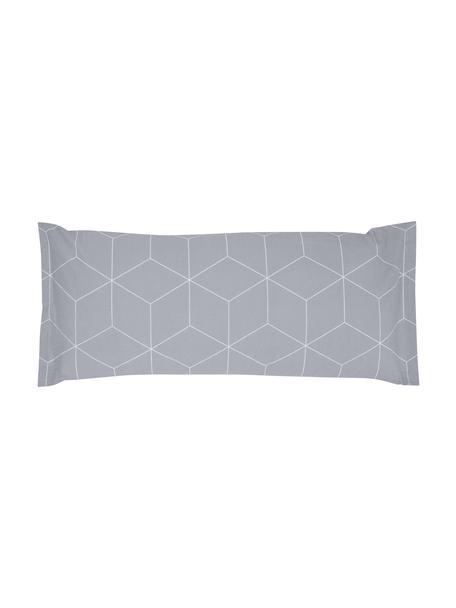 Funda de almohada de tejido renforcé Lynn, Gris, blanco crema, An 45 x L 110 cm