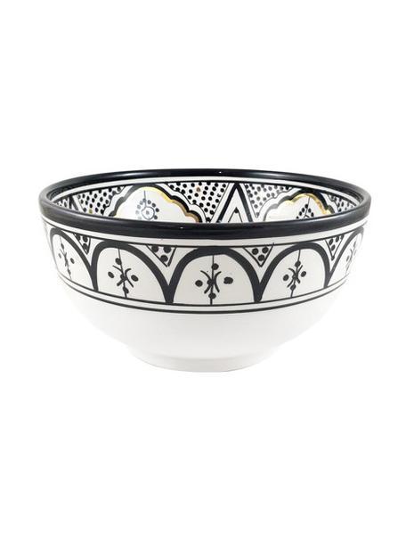 Ręcznie wykonana misa do sałatek Couleur, Ceramika, Czarny, odcienie kremowego, złoty, Ø 25 x W 12 cm