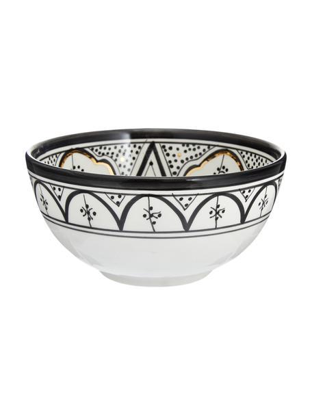 Handgemachte marokkanische Salatschüssel Couleur mit goldenen Details, Ø 25 cm, Keramik, Schwarz, Cremefarben, Gold, Ø 25 x H 12 cm