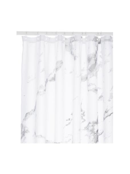 Tenda da doccia Marble, 100% poliestere Idrorepellente non impermeabile, Antracite, bianco, Larg. 180 x Lung. 200 cm