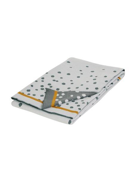 Coperta lavorata a maglia Happy Dots, Grigio, Larg. 80 x Lung. 100 cm