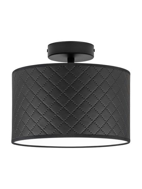 Deckenleuchte Trece aus Leder, Lampenschirm: Leder, Baldachin: Metall, pulverbeschichtet, Schwarz, Ø 25 x H 20 cm