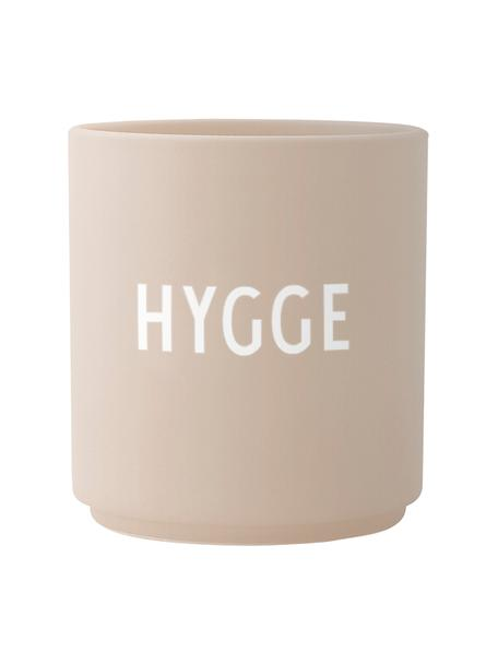 Tazza di design beige Favorite HYGGE, Fine Bone China (porcellana), Beige, bianco, Ø 8 x Alt. 9 cm