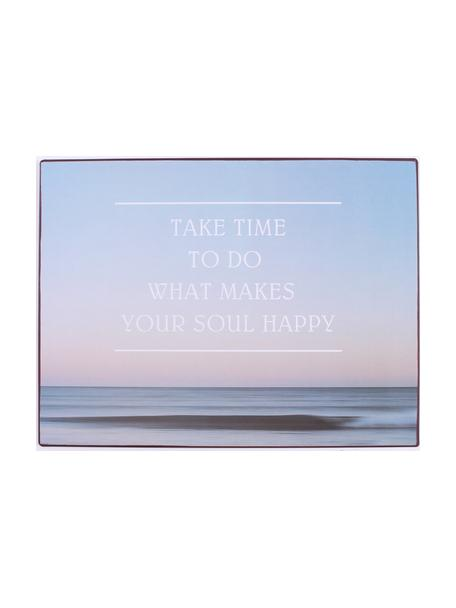 Wandbord Take time to do what…, Gecoat metaal, Blauw, multicolour, 27 x 35 cm