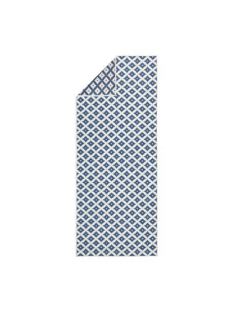 In- und Outdoor-Wendeläufer Nizza in Blau/Creme, Blau, Cremefarben, 80 x 250 cm