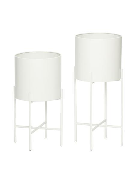 Übertopf-Set Mina aus Metall, 2-tlg., Metall, Weiß, matt, Sondergrößen