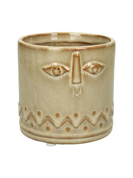 XS Übertopf Sandy aus Keramik, Keramik, Braun, Ø 12 x H 11 cm
