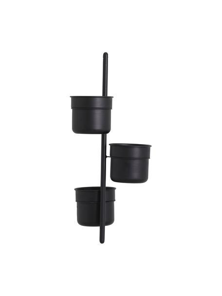 Hangende plantenpot Vulcano van metaal, Gecoat metaal, Zwart, Ø 15 x H 66 cm