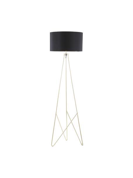 Stehlampe Jessica mit Gold-Dekor, Lampenschirm: Textil, Lampenfuß: Metall, verkupfert, Schwarz, Kupfer, Ø 45 x H 155 cm