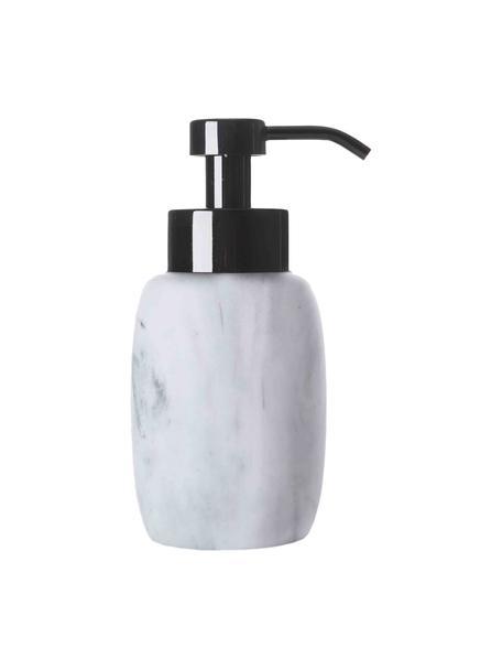Dosatore di sapone Marblis, Contenitore: poliresina, Testa della pompa: acciaio inossidabile, ver, Bianco, Ø 7 x Alt. 18 cm