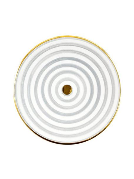 Plato llano artesanal Assiette, estilo marroquí, Cerámica, Gris claro, crema, oro, Ø 26 x Al 2 cm
