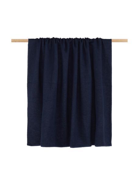 Plaid in pile Sylt in blu navy con cucitura, Tessuto: jacquard, Blu marino, Larg. 140 x Lung. 200 cm