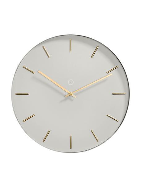 Zegar ścienny Helsinki, Metal lakierowany, Szary, odcienie mosiężnego, Ø 40 cm