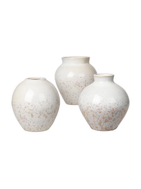 Komplet wazonów z ceramiki Ingrid, 3 elem., Ceramika, Biały, odcienie beżowego, Ø 14 x W 14 cm