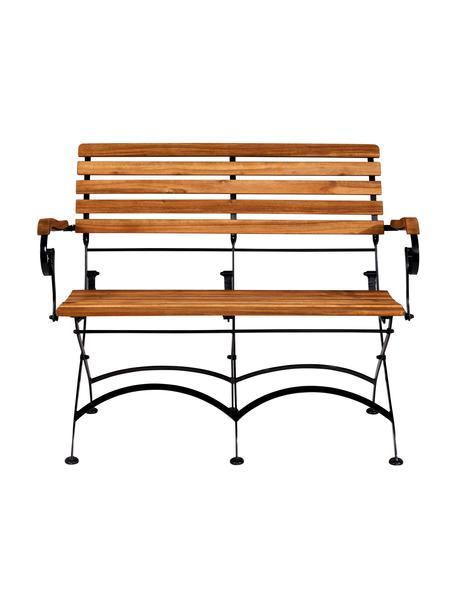 Klapbank Parklife, Zitvlak: geolied acaciahout,, Frame: verzinkt en gepoedercoat , Zwart, acaciahoutkleurig, B 111 x D 59 cm