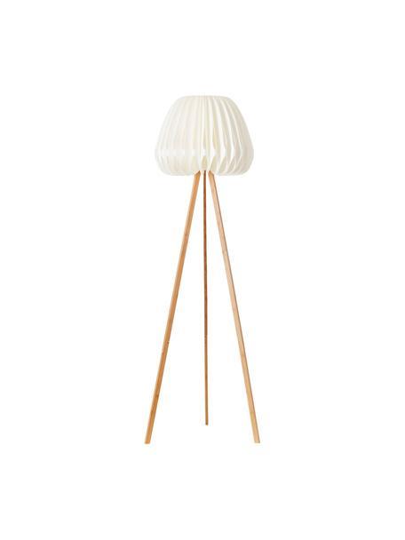Design Tripod-Stehlampe Inna aus Bambus, Lampenschirm: Kunststoff, Weiss, Bambus, Ø 62 x H 155 cm