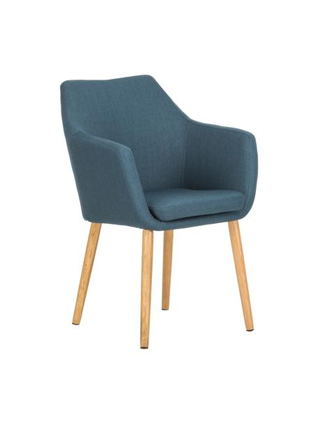Sedia stile nordico con braccioli Nora, Rivestimento: 100% poliestere Il rivest, Gambe: legno di quercia, Tessuto blu scuro, legno di quercia, Larg. 58 x Alt. 84 cm