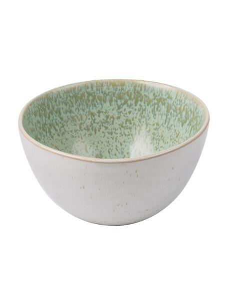Handbemalte Schälchen Areia mit reaktiver Glasur, 2 Stück, Steingut, Mint, Gebrochenes Weiß, Beige, Ø 15 x H 8 cm