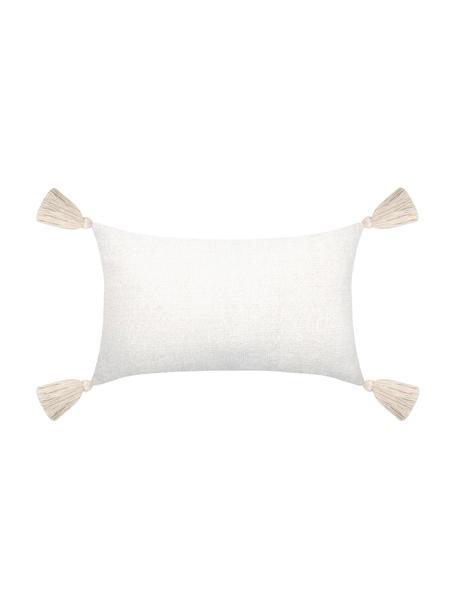 Weiches Chenille-Kissen Chila mit Quasten, mit Inlett, Bezug: 95% Polyester, 5% Baumwol, Weiß, 30 x 50 cm
