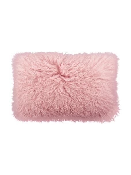 Poszewka na poduszkę ze skóry jagnięcej o długim włosiu Ella, Różowy, S 30 x D 50 cm