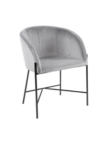 Fluwelen stoel Nelson met armleuningen, Bekleding: polyester fluweel, Poten: gelakt metaal, Grijs, zwart, B 56  x D 55 cm