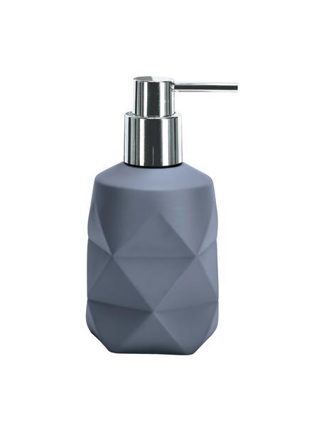 Dozownik do mydła z poliresingu Crackle, Niebieski, Ø 8 x W 17 cm