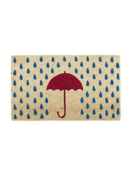 Deurmat Rainy, Bovenzijde: kokosvezels, Onderzijde: kunststof (PVC), Lichtbeige, blauw, rood, 45 x 75 cm