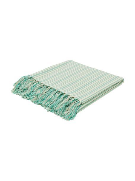 Narzuta z frędzlami Puket, 100% bawełna, Turkusowy, złamana biel, S 180 x D 260 cm