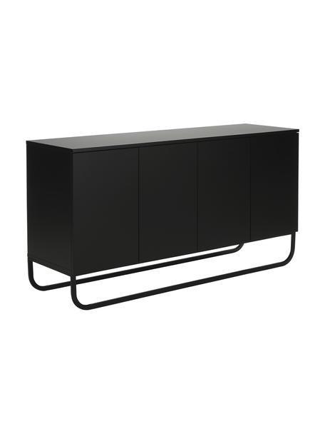 Klassiek dressoir Sanford met deuren in zwart, Frame: gelakt MDF, Zwart, 160 x 83 cm
