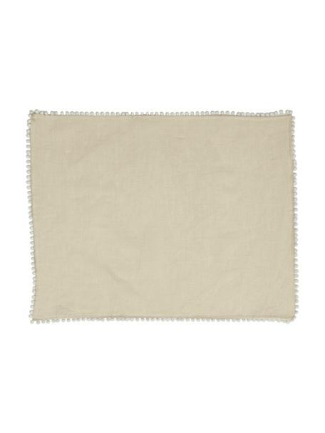 Tovaglietta americana in lino Pom Pom 2 pz, Lino, Beige, Larg. 35 x Lung. 45 cm