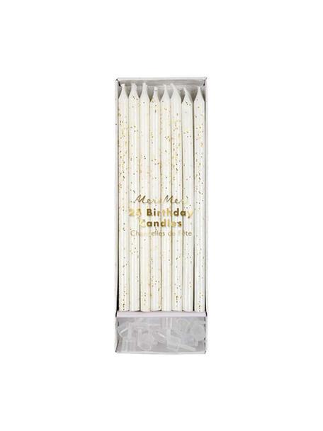 Taartkaarsenset Fete, 48-delig, Paraffinewas, kunststof, Wit, goudkleurig, Ø 1 x H 15 cm