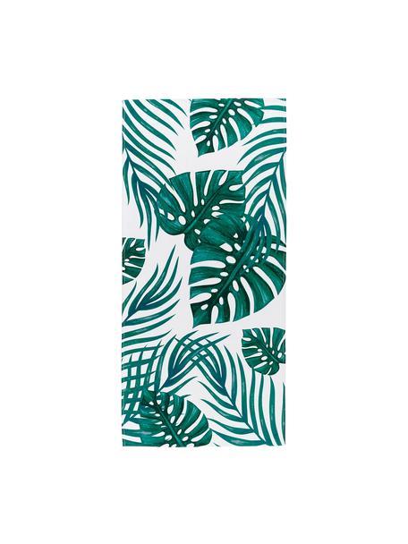 Toalla de playa ligera Jungle, 55%poliéster, 45%algodón Gramaje ligero 340g/m², Blanco, verde, An 70 x L 150 cm