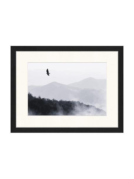 Impresión digital enmarcada Bird Flying Over Misty Hills, Negro, blanco, An 43 x Al 33 cm