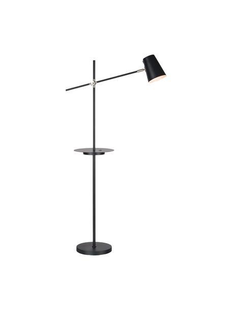 Lámpara de pie Linear, con estante y conexión USB, Pantalla: metal recubierto, Negro, An 28 x Al 144 cm