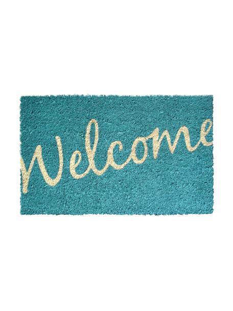 Deurmat Welcome, Bovenzijde: kokosvezels, Onderzijde: kunststof (PVC), Turquoise, beige, 40 x 60 cm