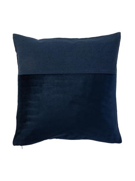 Federa arredo in velluto e lino Adelaide, Blu scuro, Larg. 40 x Lung. 40 cm