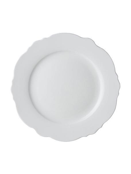 Speiseteller Muschel Loft mit geschwungenem Rand, 4 Stück, Porzellan, Weiss, Ø 26 x H 2 cm
