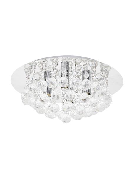 Kristall-Deckenleuchte Helena, Baldachin: Metall, verchromt, Dekor: Glas, Silber, Ø 35 x H 18 cm