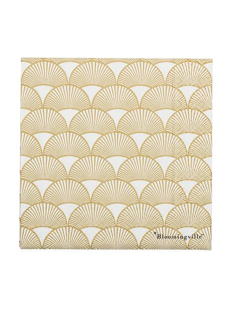 Servilletas de papel Sun, 20uds., Papel, Dorado, blanco, An 33 x L 33 cm