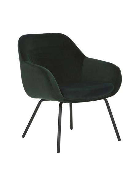 Sedia con braccioli in velluto Kassandra, Rivestimento: velluto (poliestere) 25.0, Gambe: metallo verniciato a polv, Velluto verde scuro, Larg. 72 x Prof. 68 cm