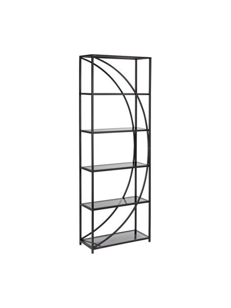 Libreria in metallo nero Korvet, Struttura: metallo epossidato e vern, Ripiani: vetro, Nero, grigio trasparente, Larg. 61 x Alt. 178 cm