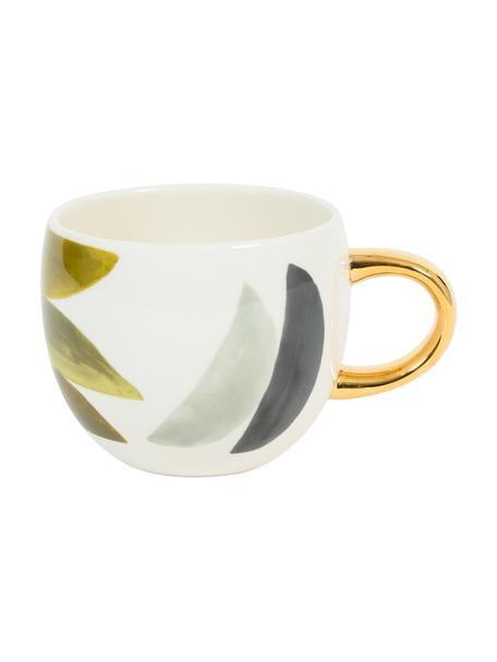 Beschilderde kopje Boomerang met goudkleurig handvat, Keramiek, Multicolour, Ø 11 cm