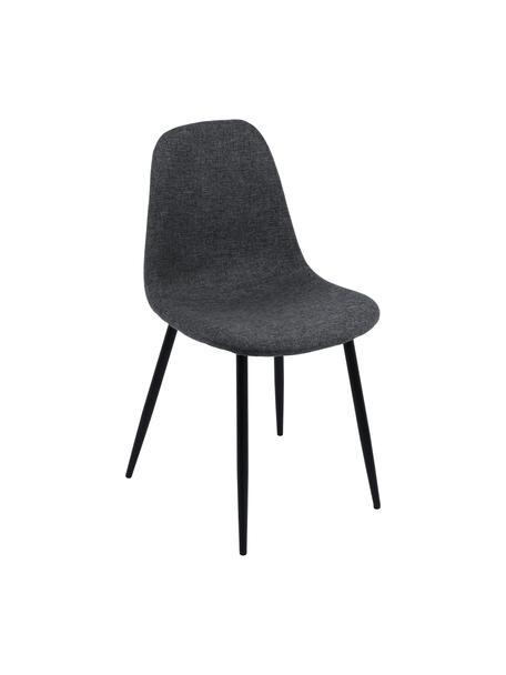 Krzesło tapicerowane Karla, 2 szt., Tapicerka: 100% poliester, Tapicerka: pianka, 20 kg/m³, Nogi: metal, Tapicerka: ciemnyszary Nogi: czarny, S 44 x G 53 cm