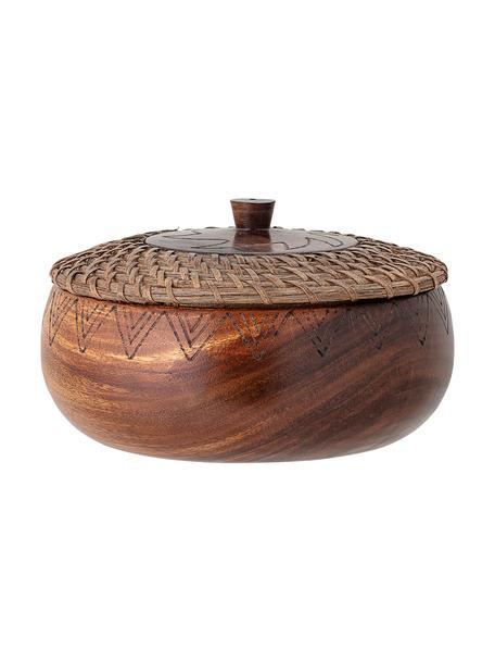 Bote de madera Femke, Madera de acacia, aceitado, ratán, Marrón, Ø 24 cm x Al 10 cm