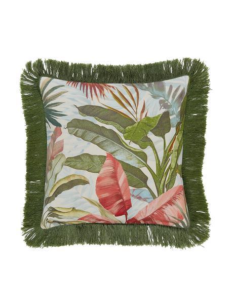 Poszewka na poduszkę z frędzlami Hilda, Wielobarwny Frędzle: ciemny zielony, S 40 x D 40 cm