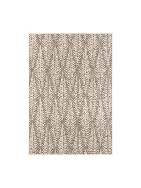 Design in- &  outdoor vloerkleed Pella met grafisch patroon, 100% polypropyleen, Taupe, beige, B 70 x L 140 cm (maat XS)