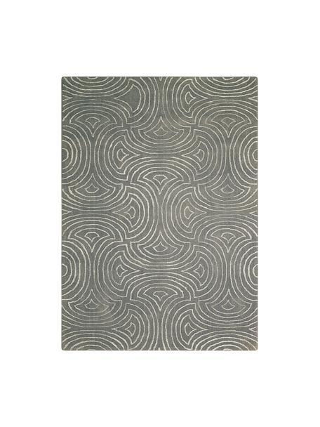 Handgetufteter Teppich Vita Illusion mit Hoch-Tief-Effekt, Flor: 90% Polyester, 10% Viskos, Moosgrün, B 150 x L 215 cm (Größe M)