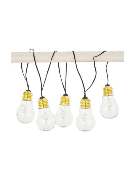 Korte LED-lichtslinger Bulb, 100 cm, Peertje: kunststof, metaal, Peertje: transparant, goudkleuri. Snoer: zwart, L 100 cm